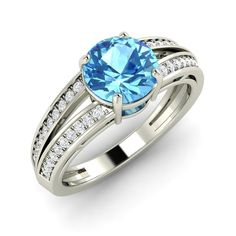 Certified Blue Topaz Diamond Engagement Ring in Solid 14k White Gold 1 4 Cts | eBay