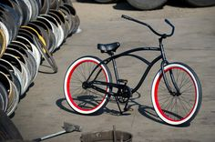 OLD SKOOL - - Men's Beach Cruiser, Old Skool Bicycle, Custom Cruisers for Men - flat black / r