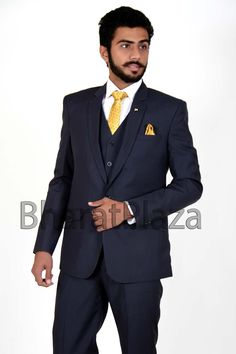 Dazzling navy blue color notch lapel #blazer crafted on terry wool fabric with molded button. Item code: TSB01B http://www.bharatplaza.com/new-arrivals/mens-suits.html