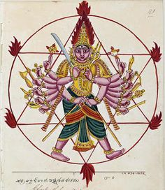 Chakrapani or Chakrathalvar, the ayudha purusha of Lord Vishnu's Sudarsana Chakra. 'Ayudhapurusha is the anthropomorphic depiction of a divine weapon in Hindu art. Ayudhapurushas are sometimes considered as partial incarnates of their divine owners.' (Anna L. Dallapiccola, ayudhapurusha or shastradevata. (2002). In Dictionary of Hindu Lore and Legend, Thames & Hudson.)
