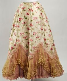 Romantic, sweeping silk French petticoat, with delicate tiered lace, 1895–98