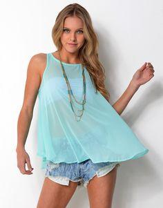 6314881 Chiffon Wide Singlet Top Cover Up, Chiffon, Tunic Tops, Tees, Dresses, Women, Fashion, Silk Fabric, Vestidos