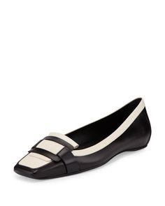 S0CL0 Roger Vivier Bicolor Leather Pilgrim Flat, Black/White l Bergdorf Goodman