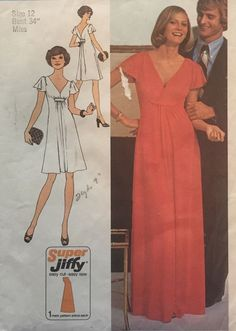 Vtg 1970s Simplicity 7011 Pattern Misses V-Neck Flared Jiffy Dress Sz 12 Bust 34 #simplicity