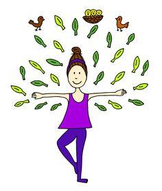 Illustratie Kinderyoga Boom Gemaakt Door Jiska Clevering Hartsuiker Met Fineliner En Ingekleurd In Yoga For KidsKid