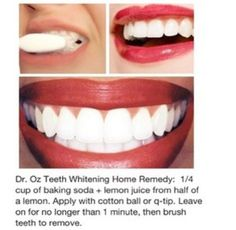 Natural Teeth Whitening Remedies Might try this. I'm generally skeptical about at-home remedies, but I know baking soda and lemons both do wonders. - Being a girl is hard. Which is why your beauty routine should be as easy as possible. White Teeth Remedies, Teeth Whitening Remedies, Natural Teeth Whitening, Skin Whitening, Charcoal Teeth Whitening, Whitening Kit, Natural Remedies, Natural Hair Mask, Natural Hair Styles