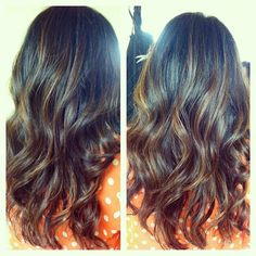 Carmel highlights on her natural hair color