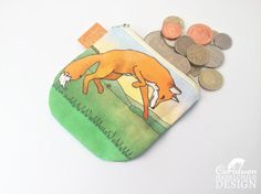 Fox Coin Purse Handmade Purse Zip Purse Make-up Bag by ceridwenDESIGN http://ift.tt/2mtglgG