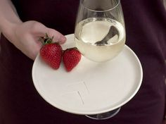 appetizer party plate with wine glass holder set by CenterCeramics, $42.00