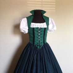 Green and Blue Scottish Irish Celtic Renaissance Dress Bodice  Costume 3-Piece set made to fit YOU by desree10 on Etsy https://www.etsy.com/listing/250050604/green-and-blue-scottish-irish-celtic