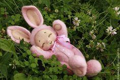 Купить Зайка-сплюшка - розовый, зайка, зайчик, зайка девочка, зайка игрушка, зайчонок