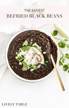 Easy refried black beans made in under 15 minutes with canned beans are a weeknight staple to go with all of your Mexican food favorites! #vegan #glutenfree #nutfree #blackbeans #beans #weeknightmeals #sidedish #Mexicanfood #easy #recipes #healthy Healthy Side Dishes, Side Dish Recipes, Healthy Dinner Recipes, Mexican Food Recipes, Whole Food Recipes, Vegetarian Recipes, Easy Recipes, Mexican Dishes, Healthy Mexican Food