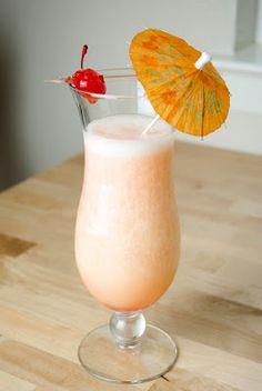 Banana Pineapple Colada   2 oz coconut rum/ 1 oz banana liqueur/ 4 oz banana puree/ 1 oz pineapple juice/ splash of grenadine