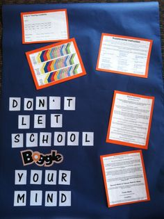 Don't let school boggle your mind Academic resources offered on campus that also ties in with the board game theme Board Game Themes, Board Games, Classroom Design, Classroom Themes, Boggle Board, Third Grade, Toy Story, Bulletin Boards, Ties