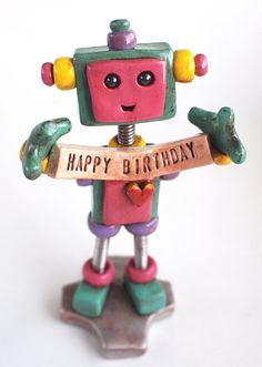 Teal Tam Robot Birthday Cake Topper - Holding Banner - Robot Sculpture - Clay…