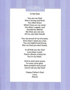 59 Ideas birthday quotes for dad from daughter poems mom Letter To Dad, Fathers Day Letters, Fathers Day Crafts, Father Poems, Happy Father Day Quotes, Happy Fathers Day, Funny Fathers Day Poems, Daddy Poems, Birthday Poems