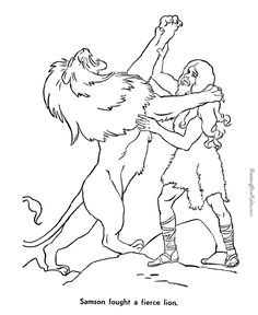 Samson, stronger than a lion with the strength God gave him! - Bible page to print and color