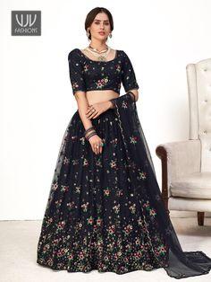 Rs5,600.00 Lehenga Choli, Net Lehenga, Black Lehenga, High Waisted Skirt, Sequins, Navy Blue Color, Lehenga Online, Party Wear Lehenga, Saree Shopping