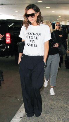 """Victoria Beckham just released two hilarious """"fashion stole my smile"""" slogan T-shirts. Click here to buy them now."""