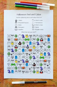 Halloween Find and Colour Free Printable - Picklebums Have fun finding lots cute and spooky halloween items in this Halloween find and colour activity page. #halloweenfun #halloweenactivity #halloweenprintable