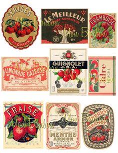 Vintage French Fruit Labels Digital Collage Sheet at www.monbonbon.etsy.com