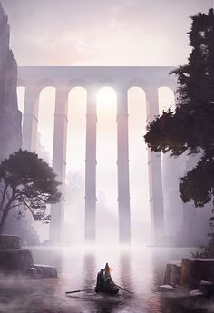 Foggy viaduct, manon alexandre on ArtStation at https://www.artstation.com/artwork/ln46O