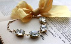 Vintage+Jewel+Bracelet+with+Gold+Ribbon.+14k+Gold+by+dreamyvintage,+$42.00