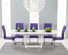 Buy Mark Harris Beckley White High Gloss Dining Set - Rectangular Extending with 6 Purple Malibu Chairs online by Mark Harris Furniture from CFS UK at unbeatable price. Table Seating, Table And Chairs, Dining Chairs, Dining Sets, Dining Area, White Extending Dining Table, Extendable Dining Table, White Dining Table Modern, Oak Furniture House
