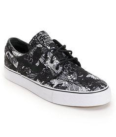 Nike SB Zoom Stefan Janoski Black Floral Sail Skate Shoes