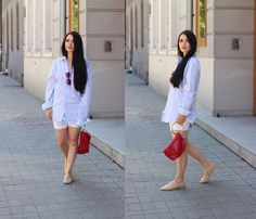 Get this look: http://lb.nu/look/8756961  More looks by Justyna Lis: http://lb.nu/justynalis  Items in this look:  Zara Nude Loafers, Mango White Shorts, Mango Baby Blue Shirt, Saint Laurent Earrings   #casual #chic #street #shirt #whiteshirt #jeans #summer #holiday #minimalism