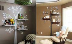 Adesivo de parede, de árvore, com prateleiras.