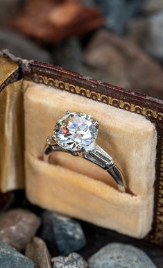 3 Carat Transitional Cut, Circa 1940s. They don't cut them like this anymore. . Sku AE17963 Unusual Engagement Rings, Vintage Engagement Rings, Diamond Engagement Rings, Antique Jewelry, Vintage Jewelry, Candy Necklaces, 3 Carat, 1940s, Gemstone Jewelry