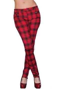 Jawbreaker Plaid Stretch Drainpipe Trousers @Baylie Wright