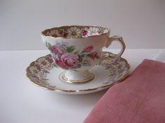 Vintage Rosina Pink Gold Floral Bone China Teacup & by jenscloset, $19.50