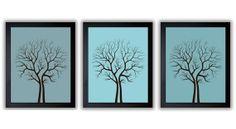 Tree Art Tree Print Abstract Tree Trees Blue Teal Set of 3 Tree Art Print Wall Decor Bathroom Modern Minimalist