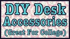 DIY DESK ACCESSORIES THAT ARE GREAT FOR COLLEGE DORM ROOMS Dorm Life, College Life, College Necessities, Roomspiration, Teen Room Decor, College Dorm Rooms, Diy Desk, Desk Accessories, Dorm Decorations