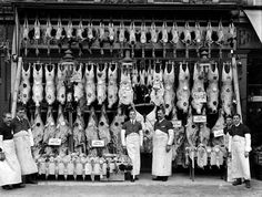 Shop front of butchers located in Sidcup High Street Vintage London, Old London, Bbq Pics, Dolls House Shop, Butcher Shop, Shop Fronts, Working People, Blue Bonnets, Historical Pictures