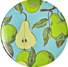Epicurean Europe 1-Piece 23 x 1.5 cm Melamine Pear Branches Side Plate, Green and Blue: Amazon.co.uk: Kitchen & Home