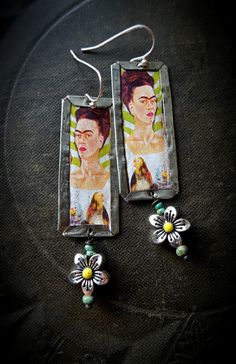 Tin Earrings, Frida Kahlo, Artisan Made, Me and my Parrots, Rustic, Organic, Primitive, Vintage, Flowers, Recycled, Beaded Earrings