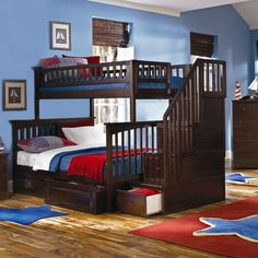 Atlantic Furniture Columbia Staircase Bunk Bed with Raised Panel Drawers | Wayfair