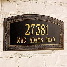 Our Hamilton Address Plaques are crafted of sturdy cast-aluminum to resist weather's worst.Each arching address plaque features a rustproof aluminum casting with a fused enamel powdercoated finish that performs beautifullyPersonalize with up to 5 numerals on first line and 17 letters on secondIncludes wall-mount hardware or stakes for in-ground installationPlease check for accuracy; personalized orders cannot be modified, cancelled, or returned after being placed Made in USA.A Frontgate e...