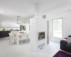 Scandinavian style white living room with a fireplace   Ainoakoti - K-rauta