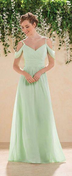 Fabulous Chiffon Spaghetti Straps A-Line Bridesmaid Dresses With Pleats   Bohobridesmaiddress Abito Da Sposa e6b1e9277f23