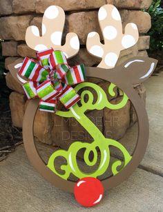 Prancing Reindeer Monogram    Christmas Wreath Hanger    Happy Holidays    Door Decor    Merry Christmas!    Wooden Monogram    by LMStoehrDesigns on Etsy https://www.etsy.com/listing/188383293/prancing-reindeer-monogram-christmas