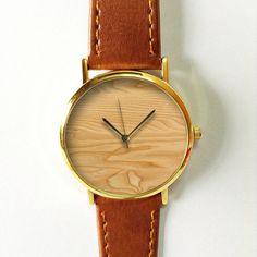 Oak Wood  Watch, Vintage Style Leather Watch, Women Watches, Unisex Watch, Boyfriend Watch, Mens Watch