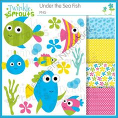 Under the Sea Fish COMBO from Twinkle Sprouts on TeachersNotebook.com -  (28 pages)  - Bright and fun under the sea fish clipart, line art, and papers.