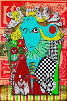 Título: Medusa - Cód 1007 ET - Artista: Edson Verti - Técnica Mista  Desenho, Pintura, Fotografia, interferência em tecido Impressão Digital Tamanho: 80x100