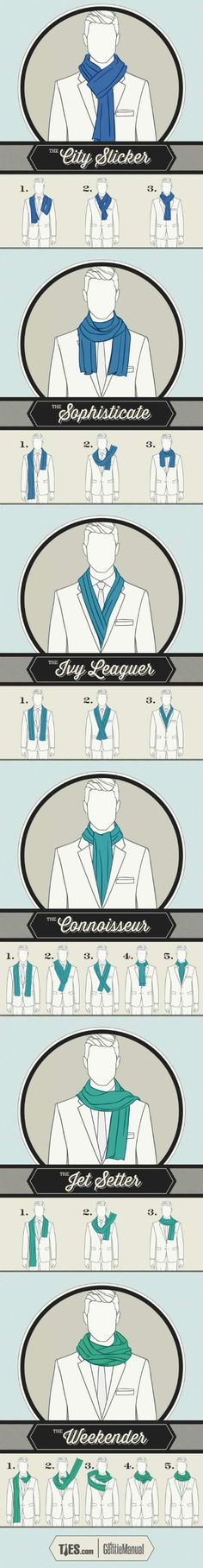 6 ways to tie scarf. Gentlemen's Guide To Scarf Tying. Ways To Wear A Scarf, How To Wear Scarves, Tie Scarves, Scarfs, Neck Scarves, Wearing Scarves, Gentlemens Guide, Style Masculin, Look Man