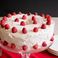 Raspberry-Almond Angel Food Cake- Almond angel food filled