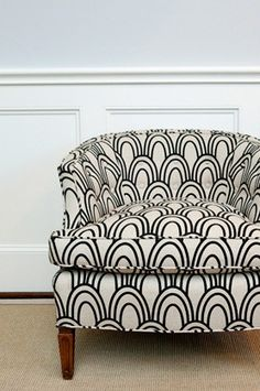 studio bon | scallop fabric in black - fabric option for over stuffed chair